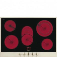 SMEG P875PO Стеклокерамическая варочная панель,72 см, кремовая, фурнитура латунная
