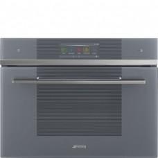 SMEG SF4106WMCS Компактный многофункциональный духовой шкаф, комбинированный с микроволновой печью, SmegConnect, 60 см, высота 45 см, серебристое стекло Stopsol