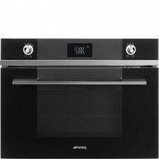 SMEG SF4102MCN Компактный духовой шкаф, комбинированный с микроволновой печью,60 см, высота 45 см, 14 функций, черное стекло.
