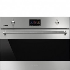 SMEG SF4303WMCX Компактный многофункциональный духовой шкаф, комбинированный с микроволновой печью, SmegConnect, 60 см, высота 45 см, 14 функций, нержавеющая сталь с обработкой против отпечатков пальцев