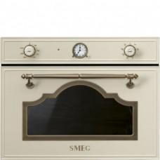 SMEG SF4750MPO Микроволновая печь, 60 см, высота 45 см, 6 функций, кремовый, фурнитура латунная
