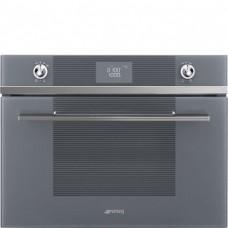 SMEG SF4102MCS Компактный духовой шкаф, комбинированный с микроволновой печью,60 см, высота 45 см, 14 функций, серебристое стекло Stopsol.