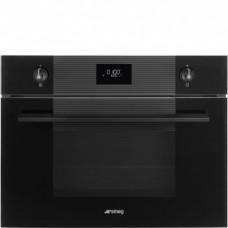 SMEG SF4101MCNO Компактный духовой шкаф комбинированный с микроволновой печью, 60 см, высота 45 см, 11 функций, черное стекло