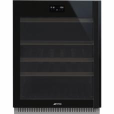 SMEG CVI638LWN3 Холодильный шкаф для вина встраиваемый, высота 82 см, петли слева, черное стекло.
