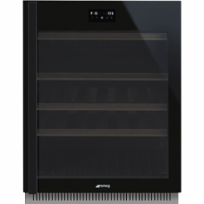 SMEG CVI638RWN3 Холодильный шкаф для вина встраиваемый, высота 82 см, петли справа, черное стекло.