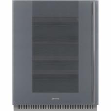 SMEG CVI138LS3 Холодильный шкаф для вина встраиваемый, высота 82 см, петли слева, серебристое стекло Stopsol.