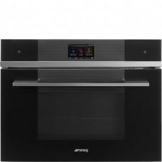 SMEG SF4104WMCN Компактный многофункциональный духовой шкаф, комбинированный с микроволновой печью, SmegConnect, 60 см, высота 45 см, 14 функций, черное стекло.
