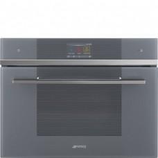 SMEG SF4104WMCS Компактный многофункциональный духовой шкаф, комбинированный с микроволновой печью, SmegConnect, 60 см, высота 45 см, 14 функций, серебристое стекло Stopsol.
